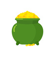 Pot of gold Green big mythical pot with full gold vector image vector image