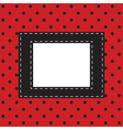 red background with black polka dots vector image