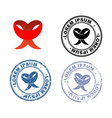 Red Ribbon Logo and set of stamps with different vector image