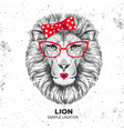 retro hipster animal lion hand drawing muzzle vector image