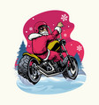 retro vintage santa claus riding chopper vector image vector image