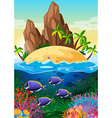 Scene with island and life underwater vector image