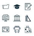 set of 9 education icons includes college vector image