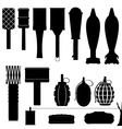 Set of silhouettes of grenades and mines vector image