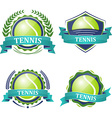 set tennis sport icons with ribbons laurel vector image