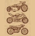 set vintage motorcycles collection bicycles vector image vector image