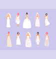 set women in wedding dresses in different vector image