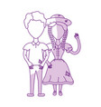 silhouette cute brazilian couple with hat and vector image
