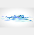 swimmer backstroke color silhouette vector image vector image