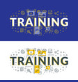 training flat line concept for web banner and vector image vector image