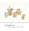 Vintage Christmas card with gift boxes vector image vector image
