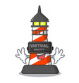 virtual reality lighthouse on the beach mascot vector image
