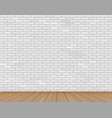 wall of white brick and wooden floor vector image vector image