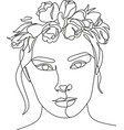 woman head with flowers composition hand-drawn vector image