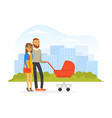 young man and woman walking outdoor pushing baby vector image