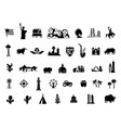 america set black silhouette icons usa tourist vector image