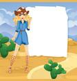 blonde cowboy girl in desert vector image