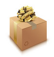 brown cardboard box with golden bow isolated on vector image vector image