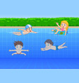 cartoon kids swimming in the pool vector image vector image