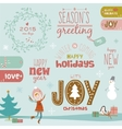 Christmas calligraphic wishes and winter elements vector image vector image