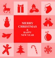 christmas congratulatory card with symbol border vector image