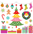 Christmas party decoration gift set vector | Price: 1 Credit (USD $1)