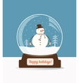Christmas snow ball with snowman vector image vector image