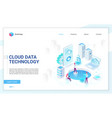 cloud data technology soft light landing page vector image vector image