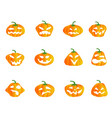 color halloween pumpkin icons vector image vector image