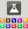 Conical Flask icon sign Set with eleven colored vector image vector image