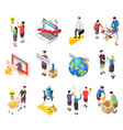 crowdfunding isometric icons set vector image vector image