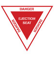 danger ejection seat aircraft aviation symbol vector image