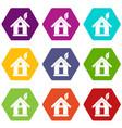 eco house concept icon set color hexahedron vector image vector image