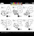 educational alphabet letters coloring book vector image vector image