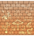 elements playground hand-drawn on brick wall vector image