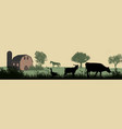 farm animals silhouette on beautiful rural vector image