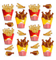 french fries and chicken wings realistic vector image