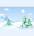great snowy landscape with hills and pine trees vector image vector image
