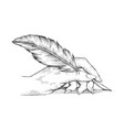 hand with pen feather engraving vector image