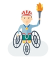 Handicapped athlete holding torch vector image