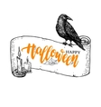 Happy Halloween banner with lettering and vector image