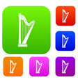 harp set color collection vector image vector image