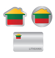 home icon on lithuania flag vector image