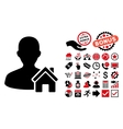 Home User Flat Icon with Bonus vector image vector image
