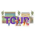 inscription tour tourist banner guide vector image