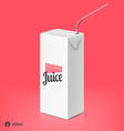 Juice package with drinking straw template vector image vector image
