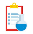 laboratory tube test flask and checklist vector image vector image