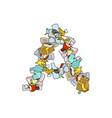 letter a rubbish trash font garbage alphabet vector image vector image