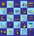 lifting machine icons set flat style vector image vector image