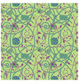 medieval flowers pattern green vector image